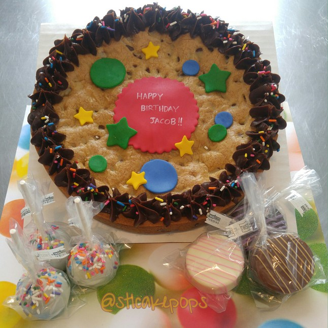 Birthday in a Box, cookie cake and chocolate covered treats