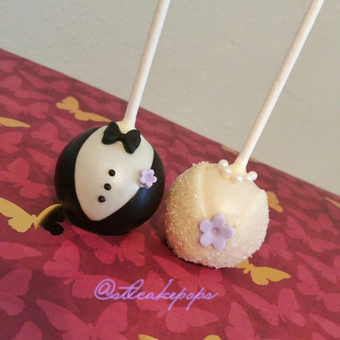 bride and groom cake pops; neckline of wedding gown, neckline of tux with bow tie