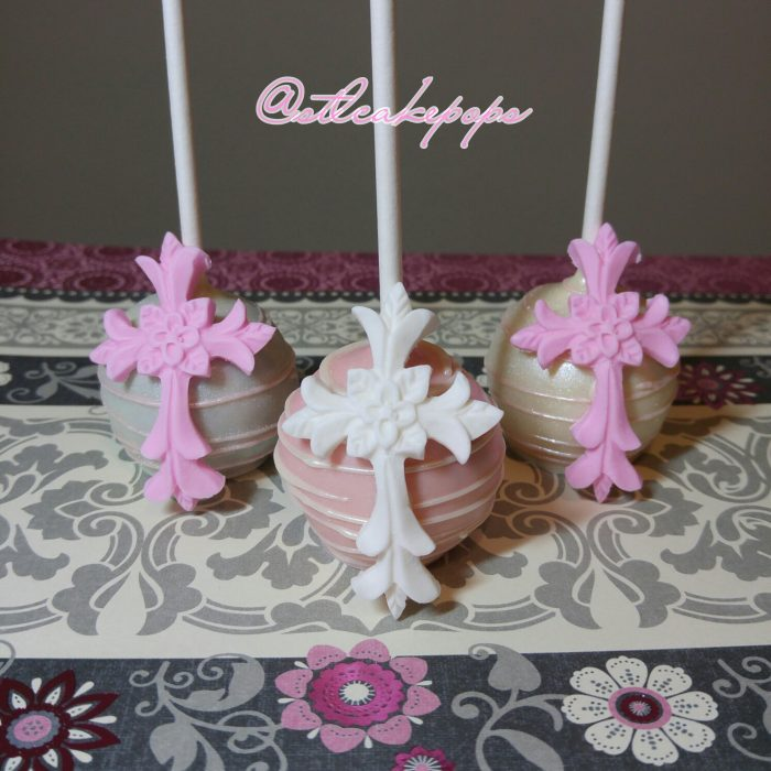 Cake Pop with delicate cross on the front