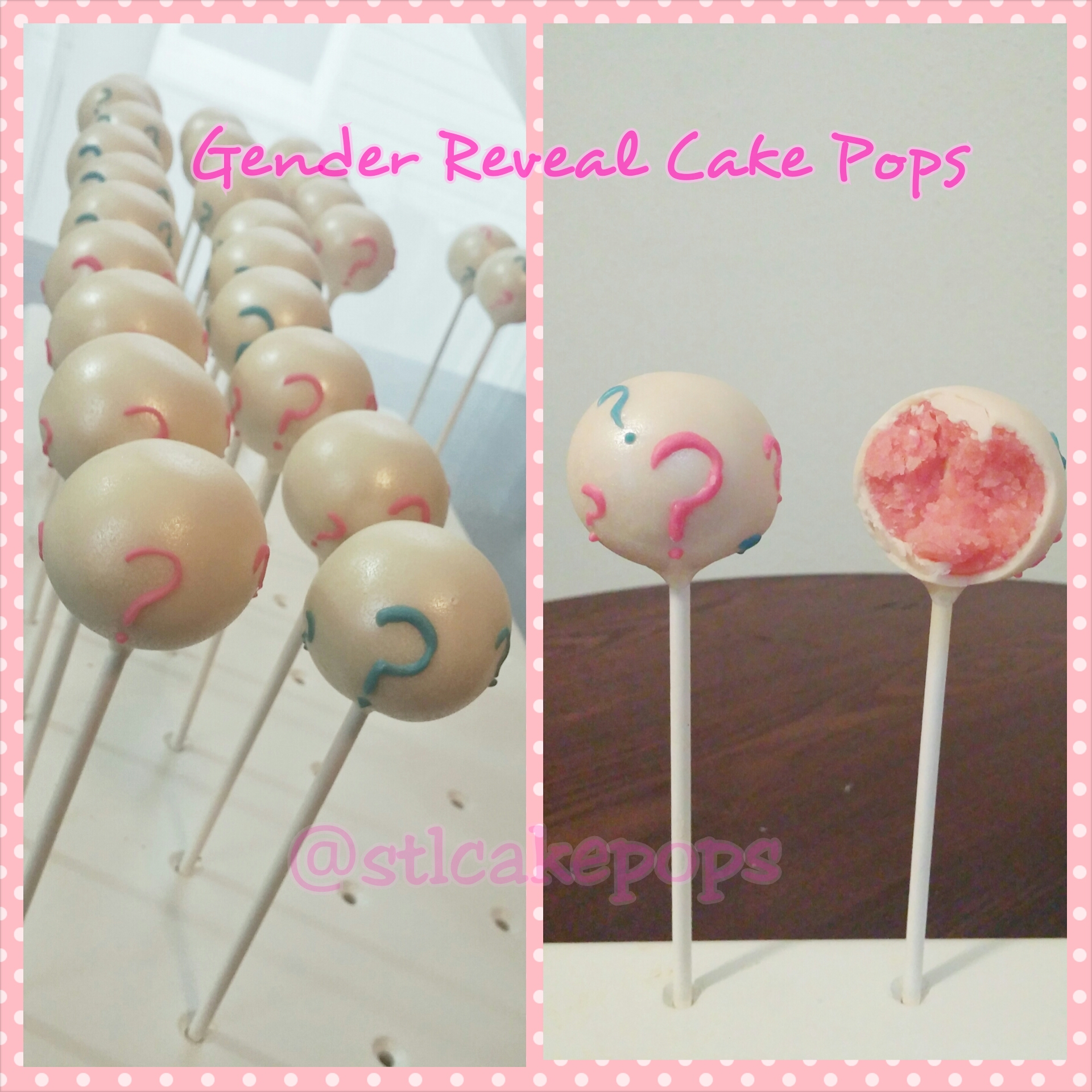 White cake pop with blue and pink question marks.