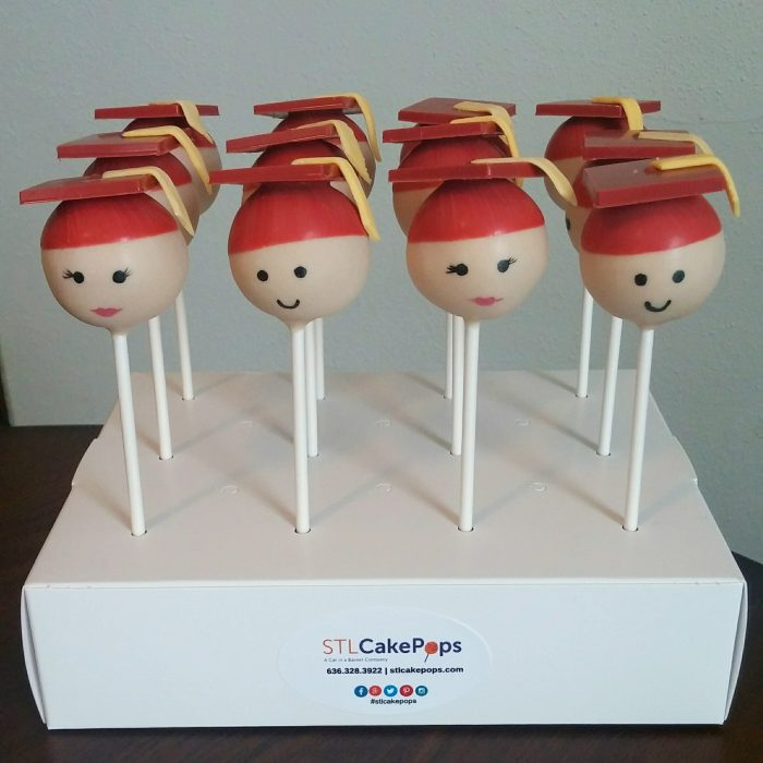Graduate head cake pops