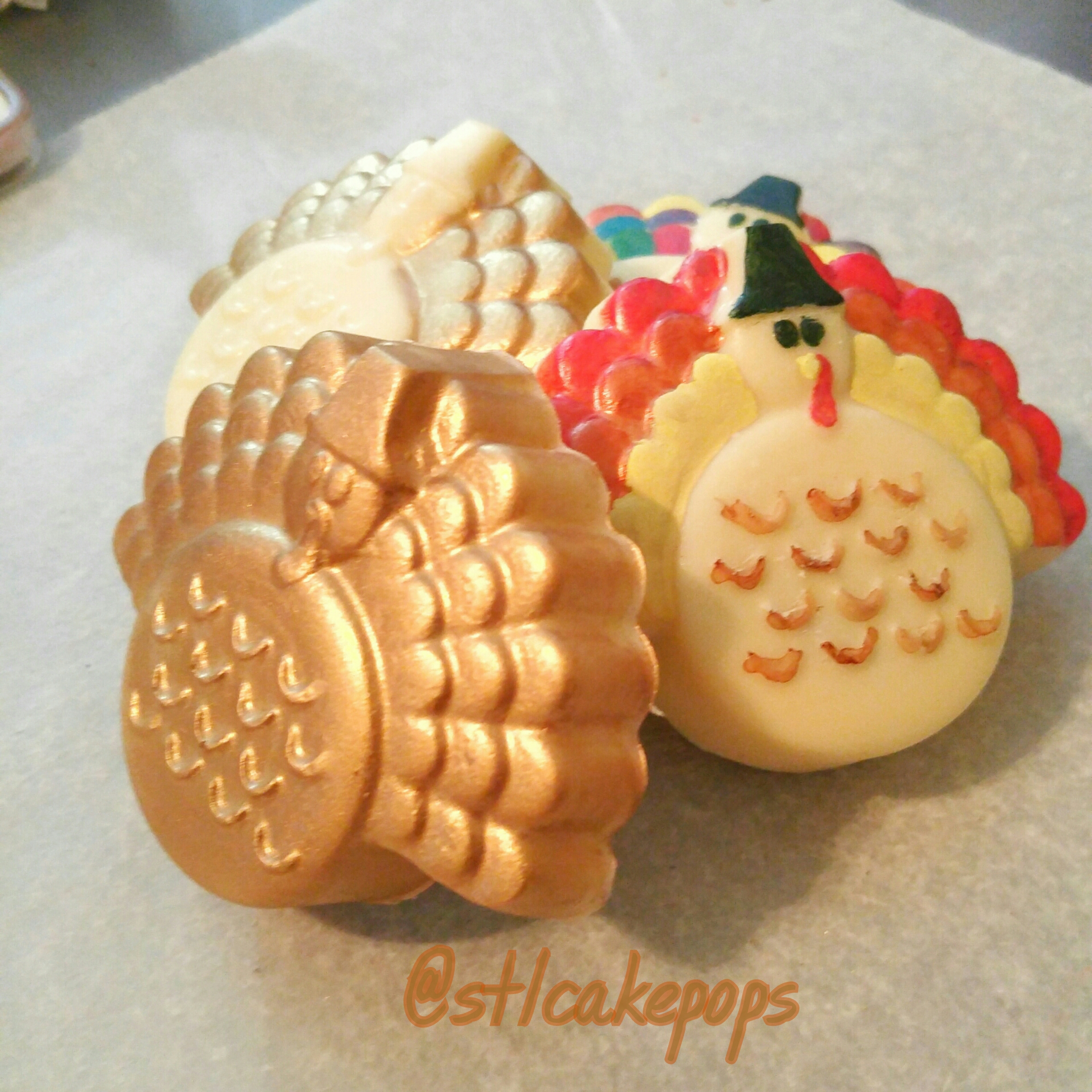 Colored chocolate covered oreos in turkey shape