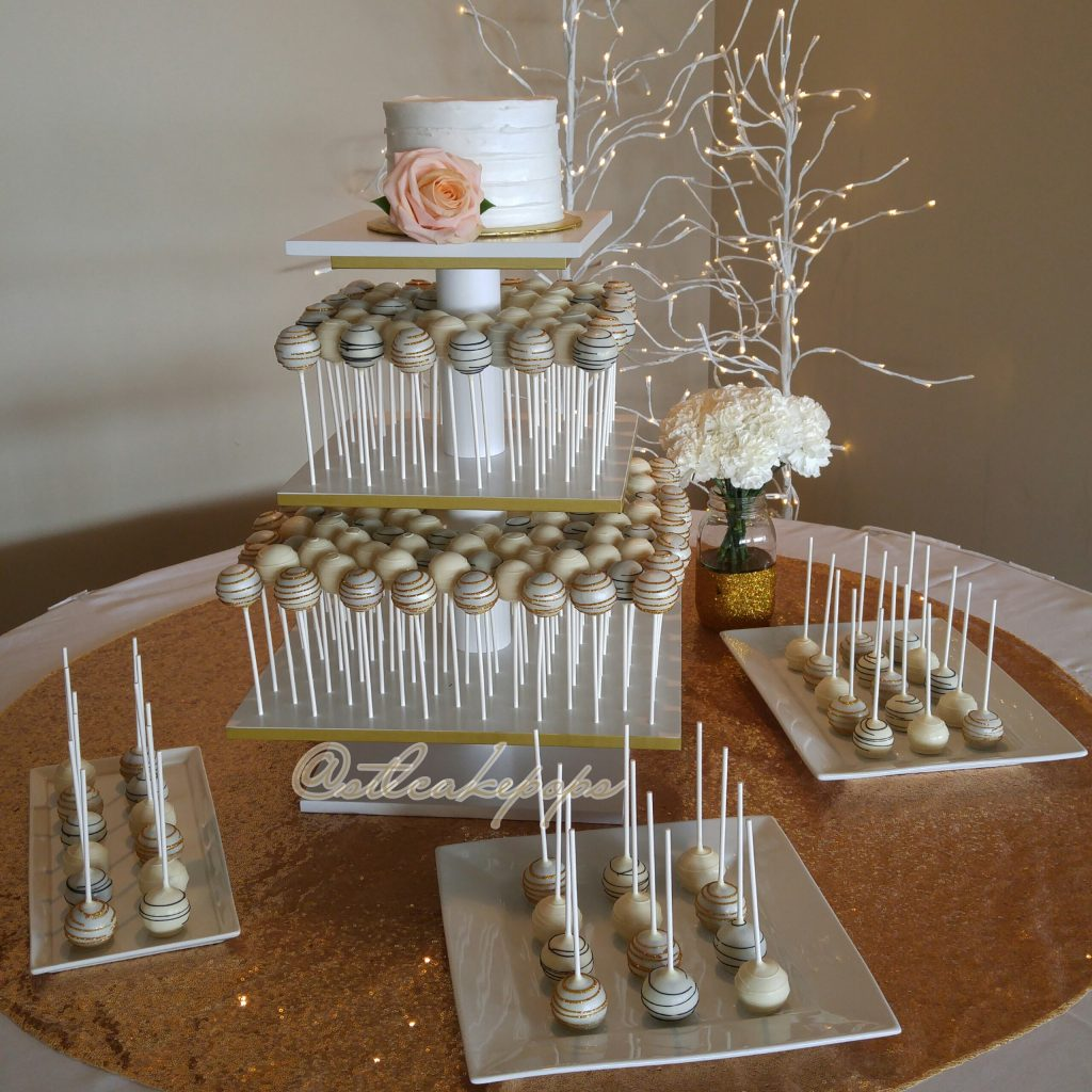 Dessert display for white & gold wedding