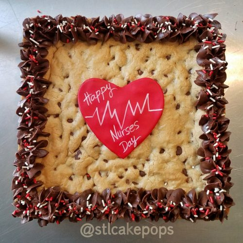 Nurses Day Square chocolate chip cookie Cake